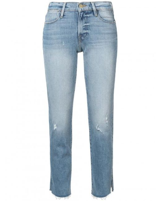 FRAME - Blue Le High Slit Jeans - Lyst