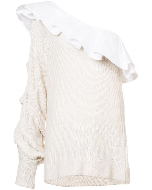 Johanna Ortiz - White Frill Trim One Shoulder Knit Top - Lyst