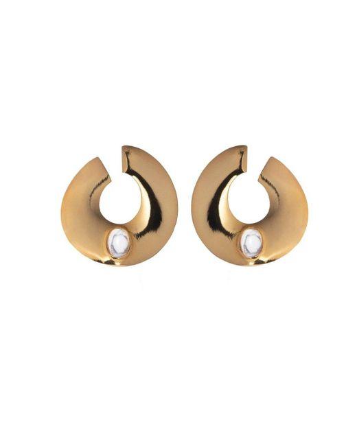 Adam Lippes Metallic Gold Hoop Earring With Semi Precious Stone