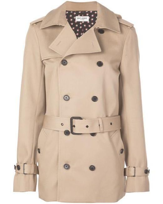 f6f291dfe4a Saint Laurent - Natural Double Breasted Trench Coat - Lyst ...