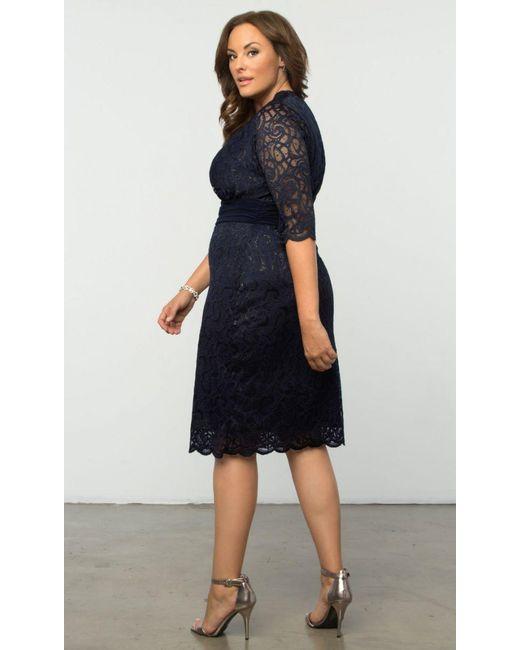 650c61f4b39 ... Kiyonna - Blue Lumiere Lace Dress - Lyst ...
