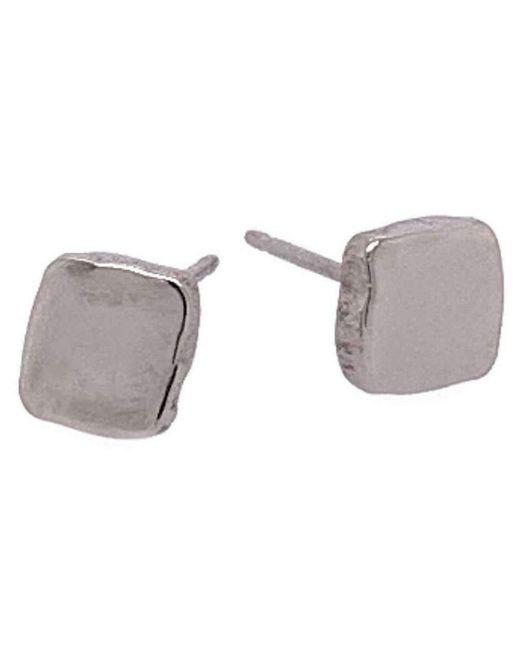 Ti2 Titanium Multicolor Squashed 6mm Square Stud Earrings