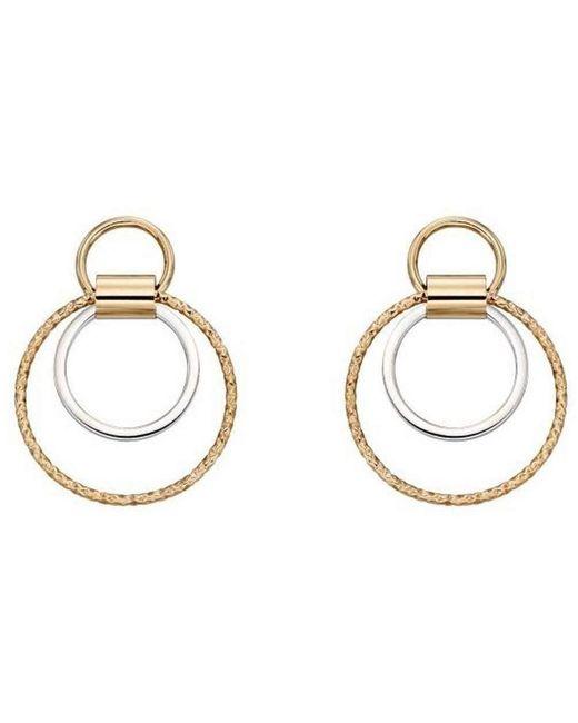 Elements Gold Metallic Diamond Cut Multi Circle Earrings