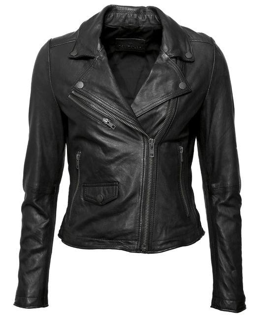 Tom Tailor Black Lederjacke mit asymmetrischem Reißverschluss