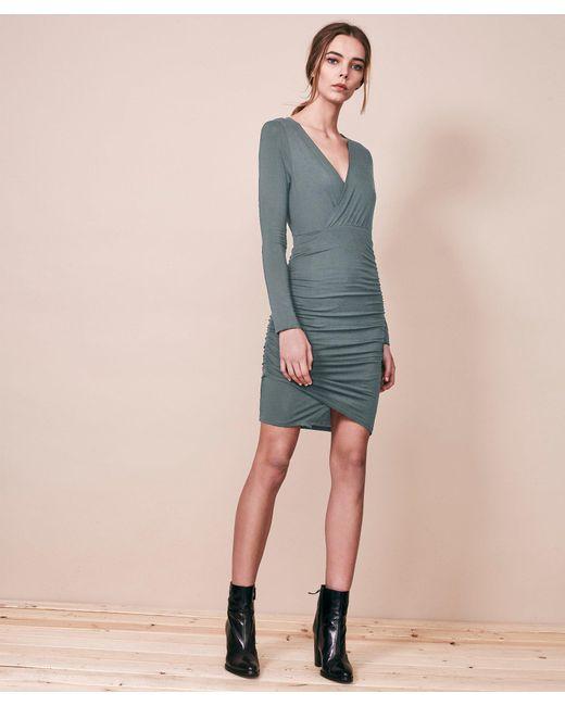Krisa | Blue Asymmetrical Surplice Mini Dress | Lyst