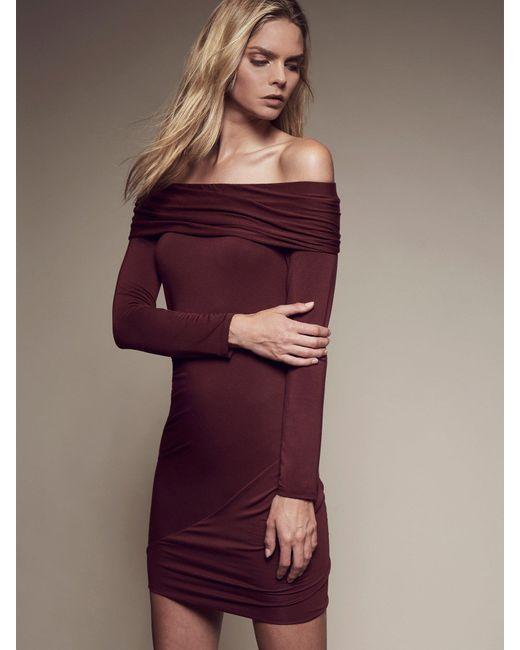 Krisa - Purple Ruched Off Shoulder Mini Dresss - Lyst