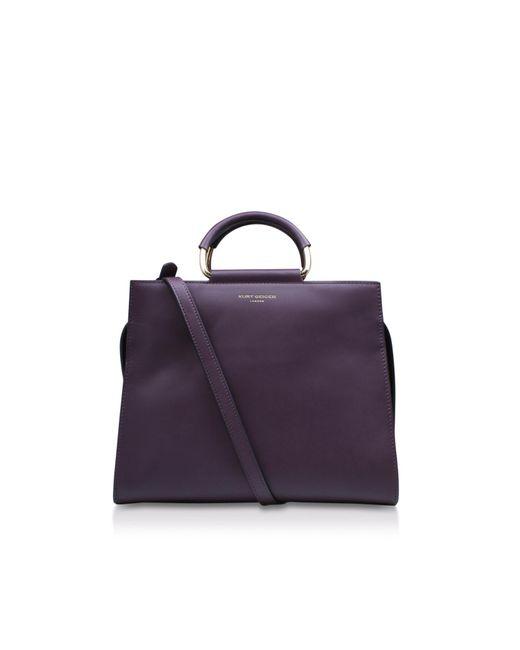 Kurt Geiger - Purple Leather Heidi Box Tote In Wine - Lyst