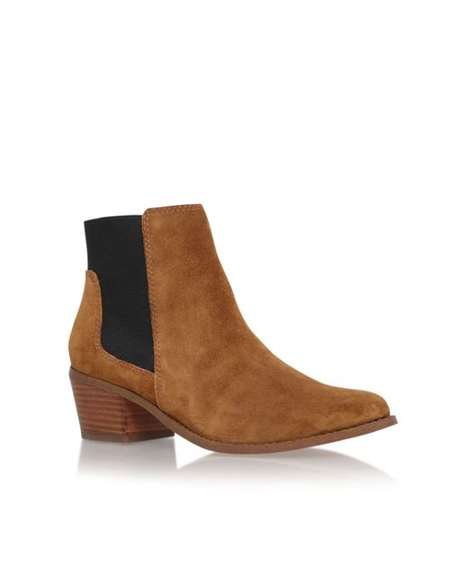 Miss Kg | Brown Sassy Low Block Heel Fringed Ankle Boots | Lyst