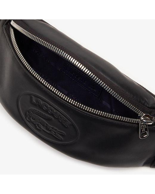 2e894658e9 Men's Black L.12.12 Casual Embossed Lettering Leather Zip Fanny Pack