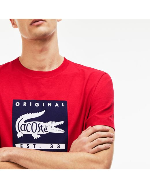 Lacoste - Red Original Lettering T-shirt for Men - Lyst