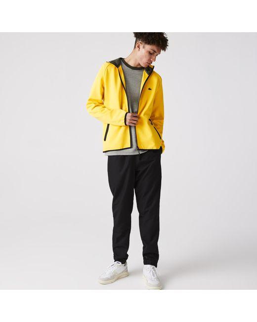 Lacoste Yellow Mens Contrast Accents Zip Hoodie for men