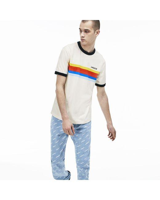 4822494fee Men's White Live Crew Neck Cotton T-shirt