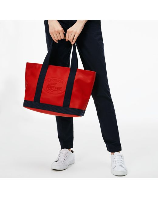 Lacoste - Red Classic Coated Piqué Canvas Zip Tote Bag - Lyst