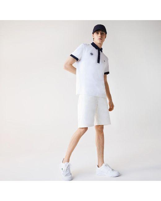 Lacoste White Mens Slim Fit Cotton Denim Bermuda Shorts for men