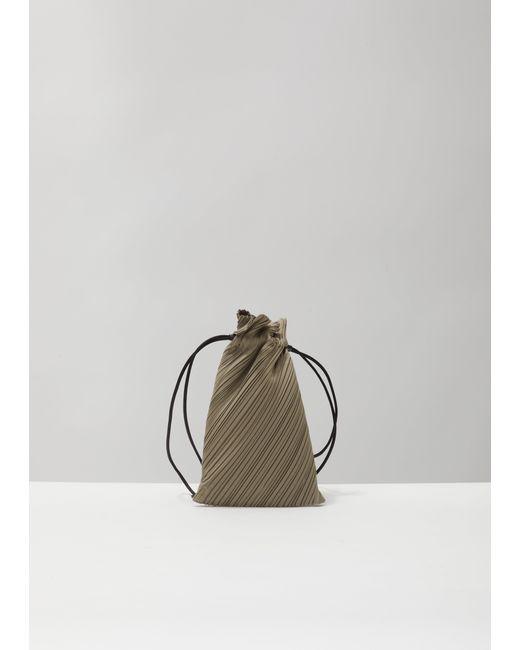 Pleats Please Issey Miyake Gray Drawstring Pleats Bag