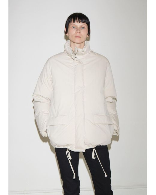 Helmut Lang White Convertible Cotton Puffer Jacket
