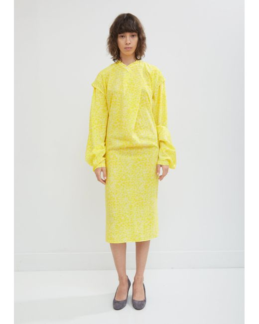 Lemaire - Yellow Large Sleeve Dry Silk Dress - Lyst