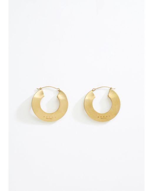 Marni - Metallic Monile Leverback Hoop Earrings - Lyst