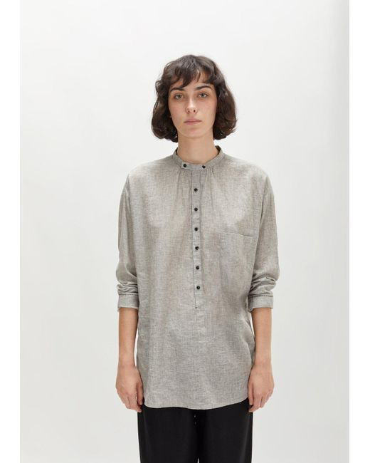 Pas De Calais | Gray Linen Cotton Collarless Long Shirt | Lyst