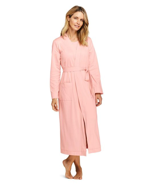 Lands' End - Pink Supima Dressing Gow - Lyst