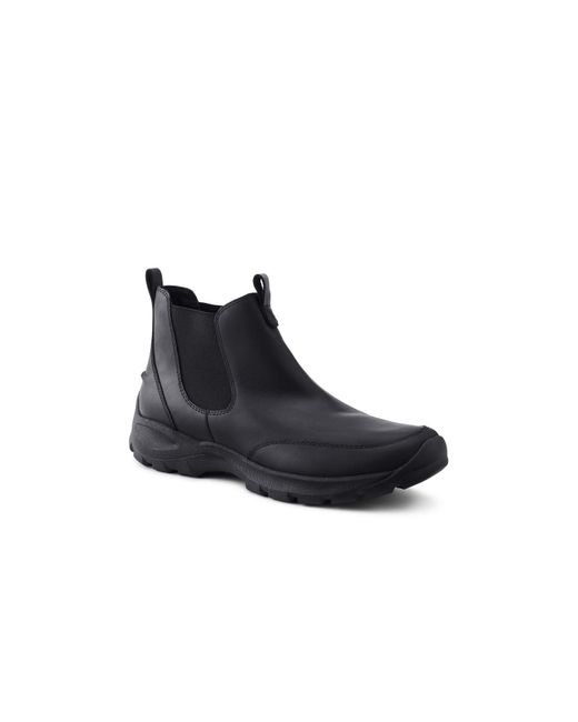 Lands' End Allwetter Chelsea Boots aus Leder, Herren, Größe: 41 Weit, Schwarz, by Lands' End, Schwarz Leder in Black für Herren