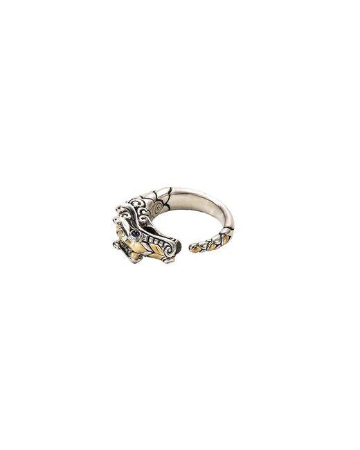 John Hardy Metallic Sapphire 18k Yellow Gold And Silver Naga Ring