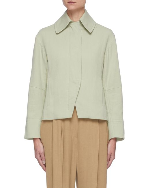 Vince Green Conceal Button Front Crop Cotton Jacket