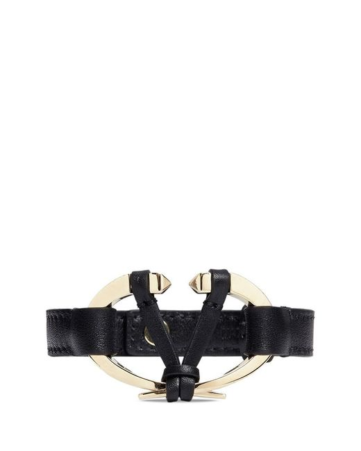 Valentino - Black Logo Plate Leather Bracelet - Lyst