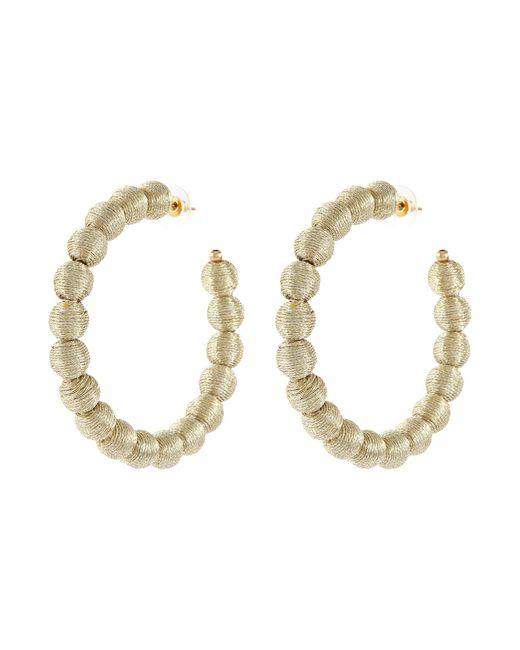 Kenneth Jay Lane Metallic Threaded Bead Hoop Earrings