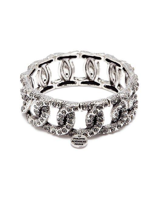 Philippe Audibert Metallic 'princess' Swarovski Crystal Chain Effect Elastic Bracelet
