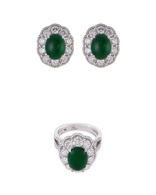 LC COLLECTION - Metallic Diamond Jade 18k Gold Scallop Ring And Earrings Set - Lyst