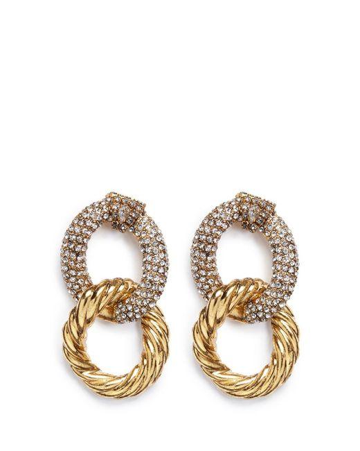 Erickson Beamon   Metallic Swarovski Crystal Interlocking Hoop Earrings   Lyst