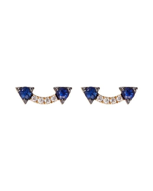 Khai Khai - Metallic 'jaws Smiley' Diamond Sapphire 18k Yellow Gold Earrings - Lyst