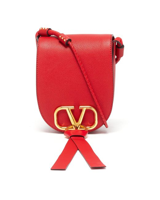 Valentino Red 'vring' Tassel Small Leather Saddle Bag