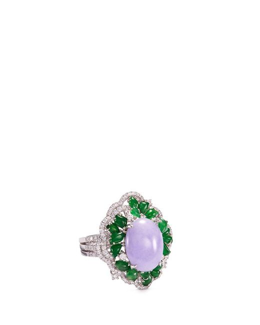 LC COLLECTION | Metallic Diamond Jade 18k White Gold Ring | Lyst