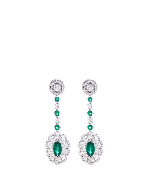 LC COLLECTION | Metallic Diamond Emerald Platinum And Silver Drop Earrings | Lyst