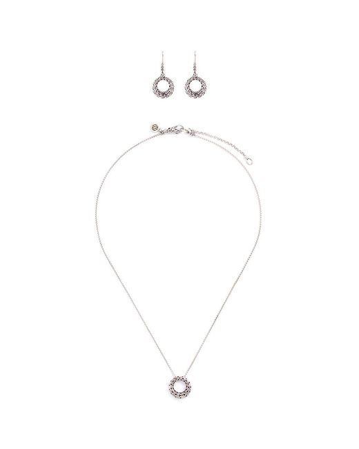 John Hardy   Metallic Silver Chain Effect Cutout Circle Earrings And Necklace Gift Set   Lyst