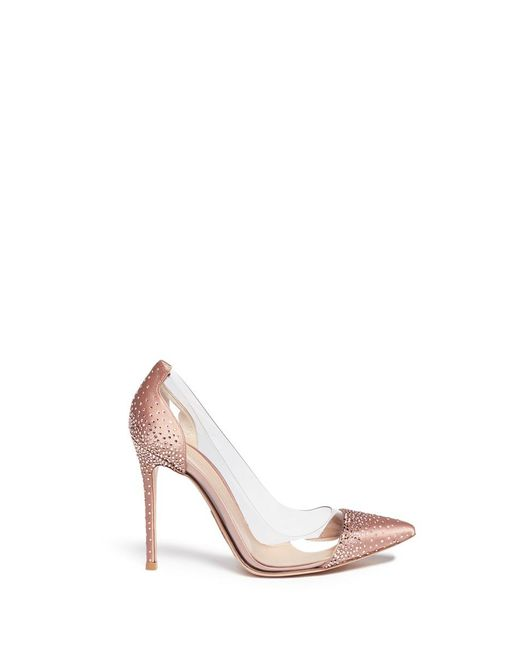 Gianvito Rossi - Pink 'crystal Plexi' Embellished Clear Pvc Satin Pumps - Lyst