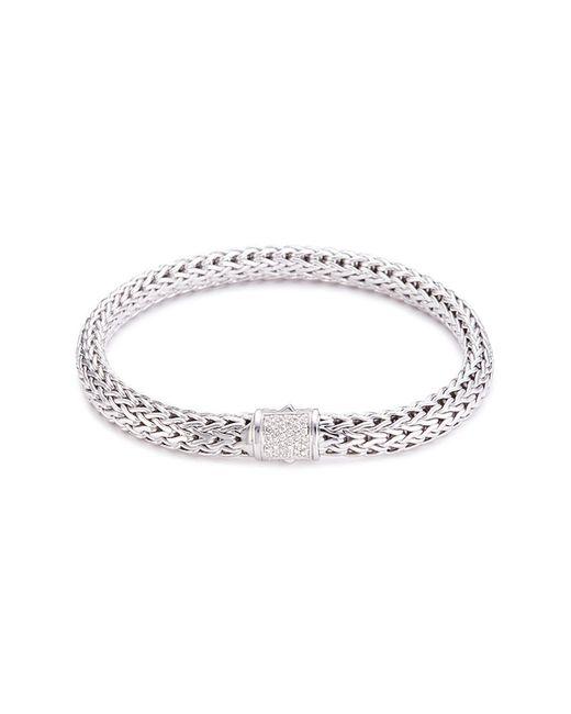 John Hardy - Metallic Diamond Silver Woven Chain Bracelet - Lyst