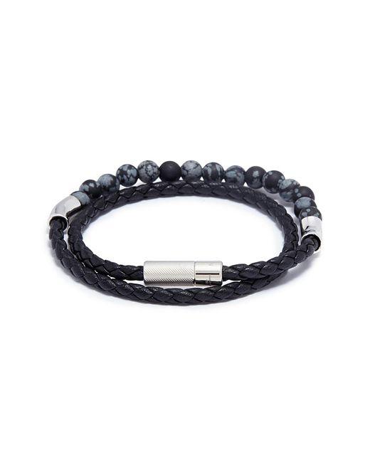 Tateossian - Black 'havana' Double Wrap Snowflake Obsidian Leather Bracelet for Men - Lyst