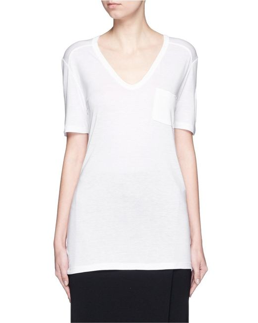 T By Alexander Wang - White Rayon Jersey T-shirt - Lyst