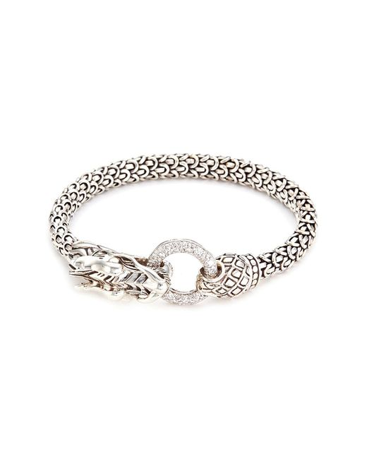 John Hardy - Metallic Diamond Silver Scaly Dragon Bracelet - Lyst