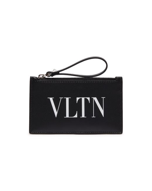 Valentino - Black Logo Print Leather Zip Coin Wallet for Men - Lyst