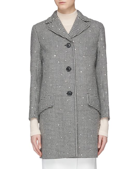 7f815ce5dc7 Miu Miu - Multicolor Strass Virgin Wool Houndstooth Coat - Lyst ...