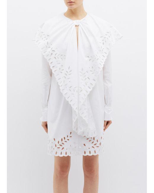 10c3f74b496 Oscar de la Renta - White Ruffle Drape Panel Silk Broderie Anglaise Dress -  Lyst ...