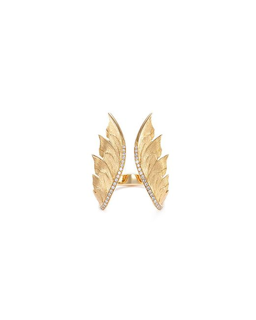 Stephen Webster - Metallic Diamond 18k Yellow Gold Feather Open Ring for Men - Lyst