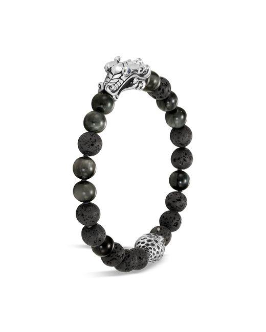 John Hardy Metallic 'legends Naga' Sapphire Volcanic Bead Silver Bracelet for men