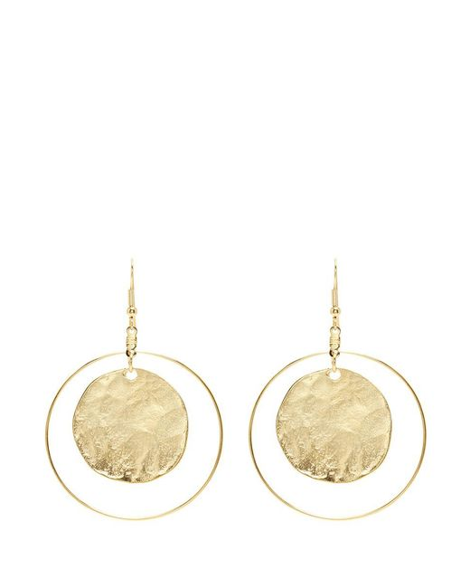 Kenneth Jay Lane | Metallic Hammered Coin Hoop Earrings | Lyst