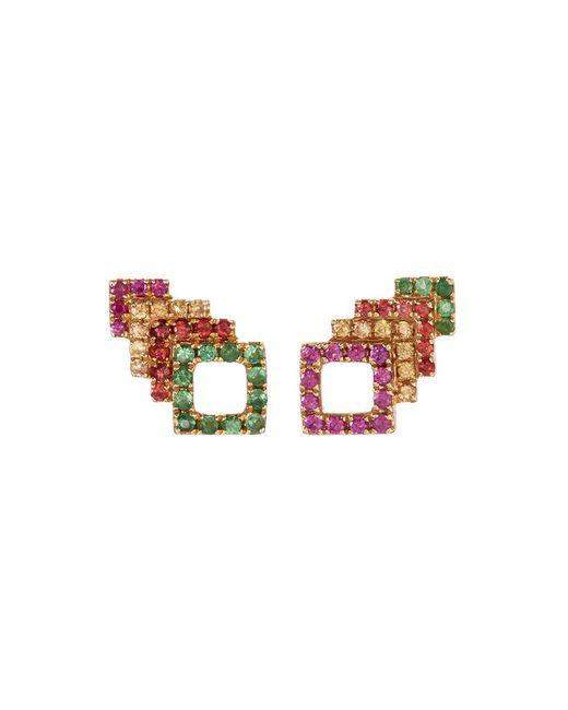 Khai Khai - Metallic 'square Stack' Sapphire Tsavorite 18k Yellow Gold Stud Earrings - Lyst