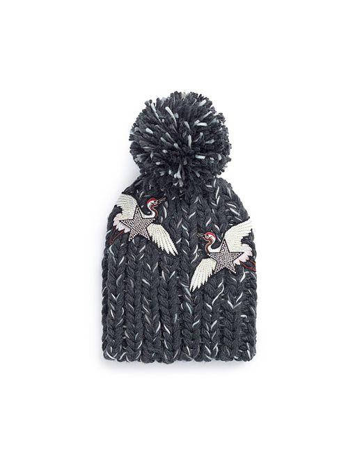 Venna - Gray Strass Star Crane Patch Pompom Rib Knit Beanie - Lyst